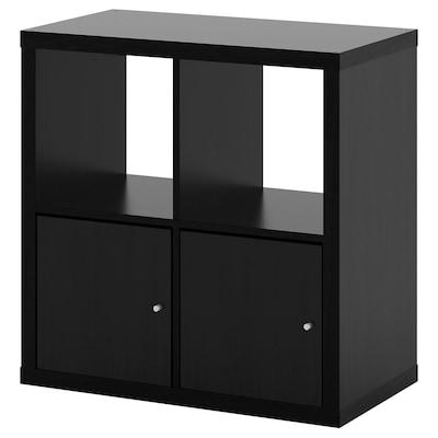 KALLAX Shelving unit with doors, black-brown, 77x77 cm