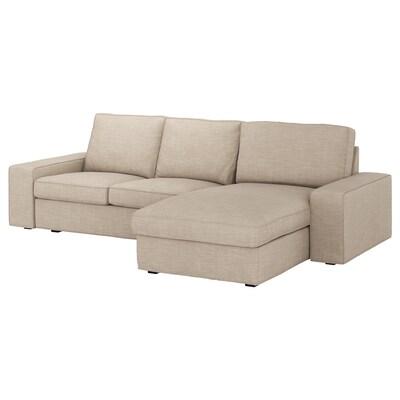 KIVIK أريكة 3 مقاعد, مع أريكة طويلة/Hillared بيج