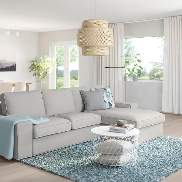KIVIK 3-seat sofa, with chaise longue/Orrsta light grey