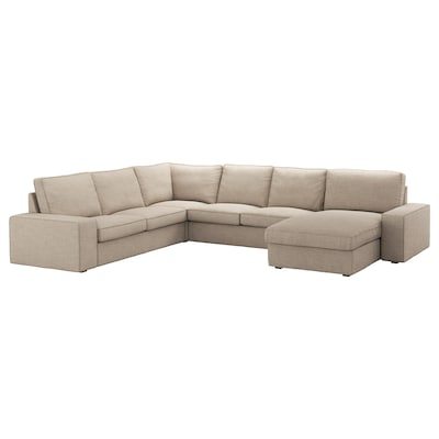 KIVIK Corner sofa, 5-seat, with chaise longue/Hillared beige