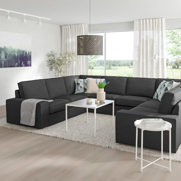KIVIK U-shaped sofa, 6 seat, Hillared anthracite