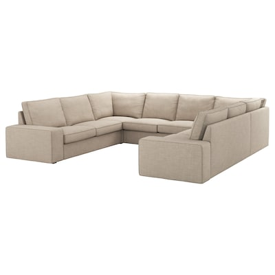 KIVIK U-shaped sofa, 6 seat, Hillared beige