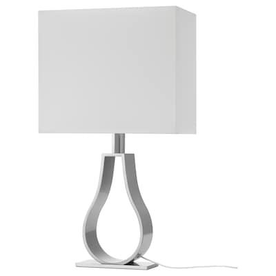 KLABB مصباح طاولة, أبيض-عاجي/طلاء - نيكل, 60 سم