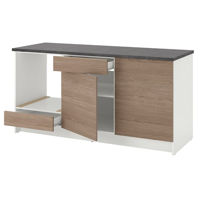 KNOXHULT Base cabinet with doors and drawer, wood effect/grey, 180 cm