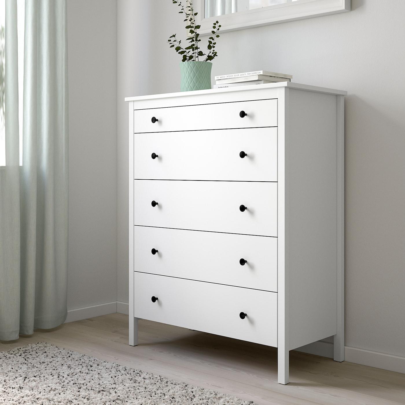 KOPPANG Chest of 5 drawers, white, 90x114 cm