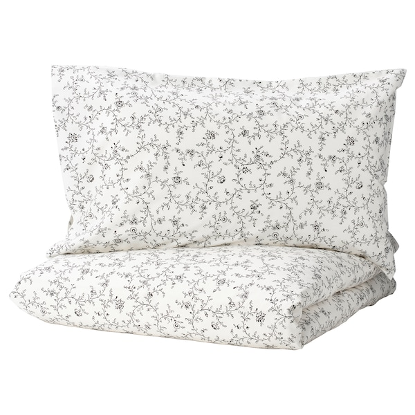 KOPPARRANKA غطاء لحاف/2كيس مخدة, أبيض/رمادي غامق, 240x220/50x80 سم