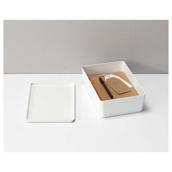 KUGGIS Box with lid, white, 18x26x8 cm