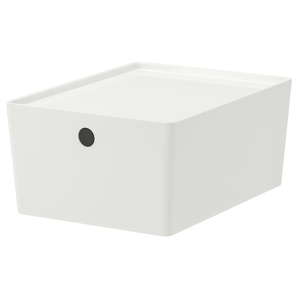 KUGGIS Box with lid, white, 26x35x15 cm