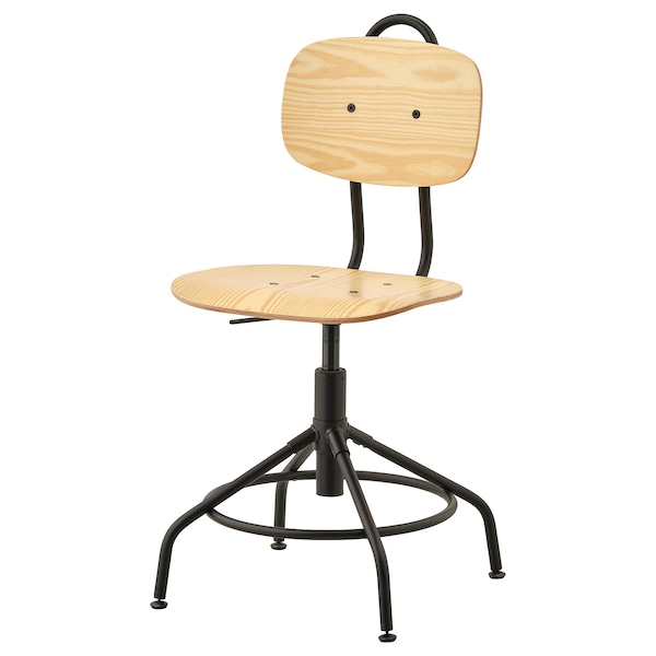 KULLABERG Swivel chair, pine/black