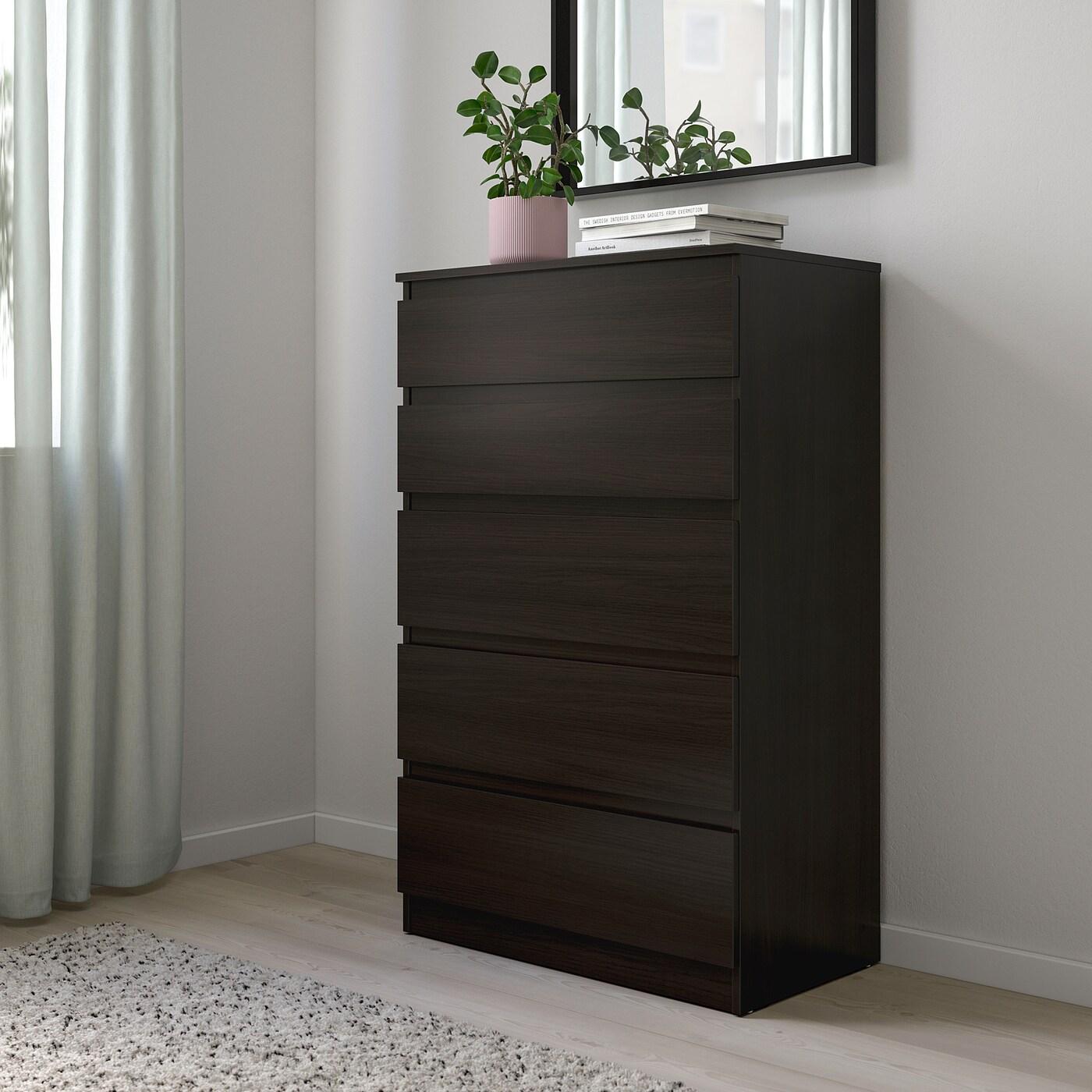 KULLEN Chest of 5 drawers, black-brown, 70x112 cm