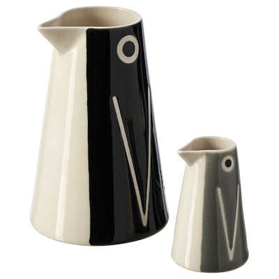LÄTTSÅLD Vase/carafe, set of 2, penguin/black grey