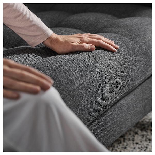 LANDSKRONA أريكة 3 مقاعد, مع أريكة طويلة/Gunnared رمادي غامق/معدني