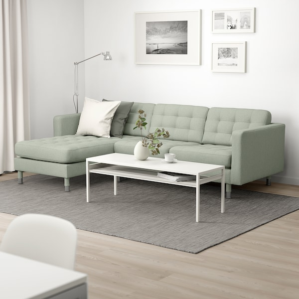 LANDSKRONA 3-seat sofa, with chaise longue/Gunnared light green/metal