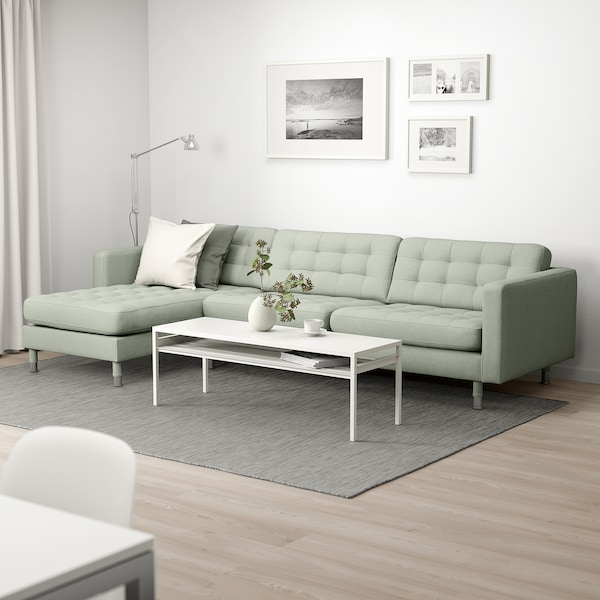 LANDSKRONA 4-seat sofa, with chaise longue/Gunnared light green/metal