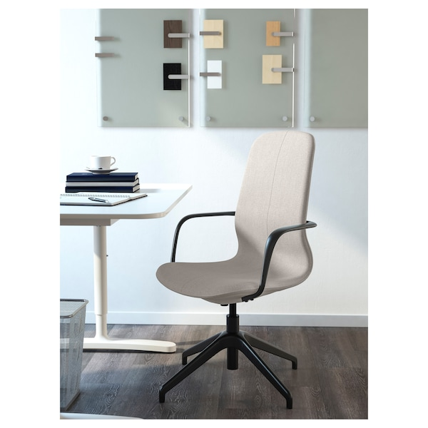 LÅNGFJÄLL Conference chair with armrests, Gunnared beige/black