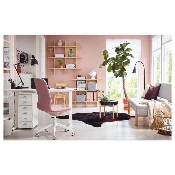 LÅNGFJÄLL Office chair, Gunnared light brown-pink/white