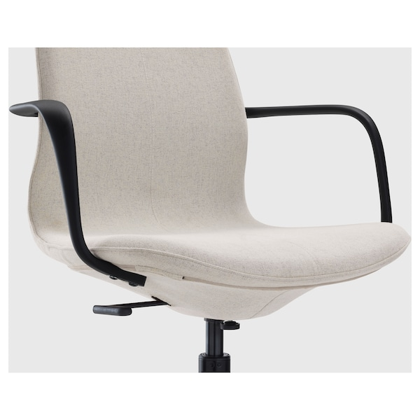 LÅNGFJÄLL Office chair with armrests, Gunnared beige/black