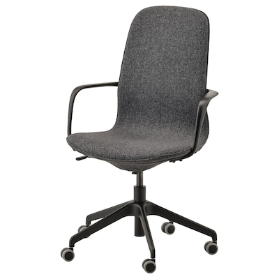 LÅNGFJÄLL Office chair with armrests, Gunnared dark grey/black