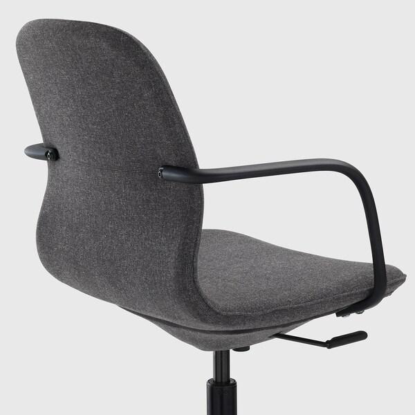 LÅNGFJÄLL كرسي مكتب بمساند ذراعين, Gunnared رمادي غامق/أسود
