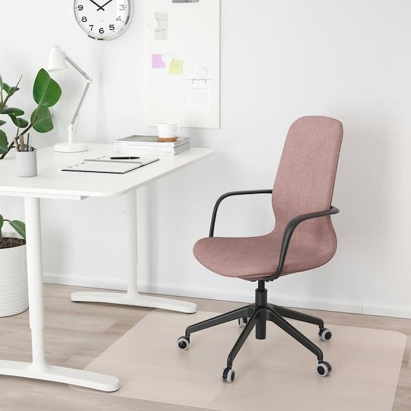 LÅNGFJÄLL Office chair with armrests, Gunnared light brown-pink/black