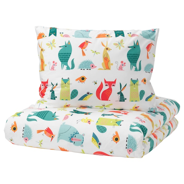 LATTJO Quilt cover and pillowcase, animal/multicolour, 150x200/50x80 cm