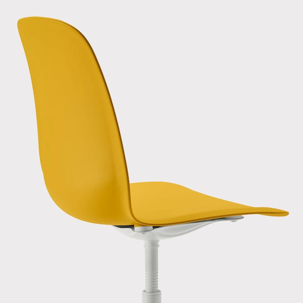 LEIFARNE Swivel chair, dark yellow/Balsberget white