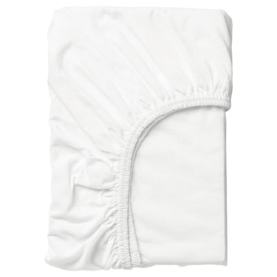 LEN Fitted sheet, white, 80x165 cm