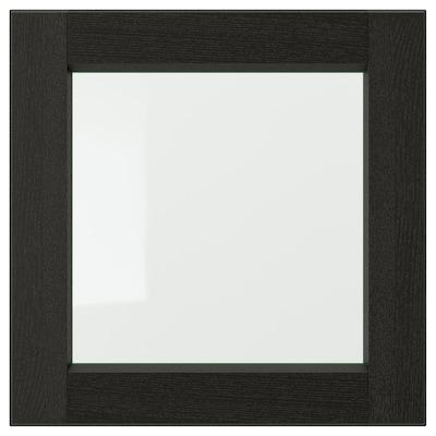 LERHYTTAN Glass door, black stained, 40x40 cm