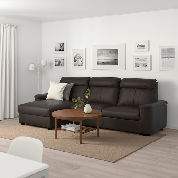 LIDHULT 3-seat sofa-bed, with chaise longue/Grann/Bomstad dark brown