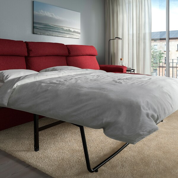 LIDHULT 3-seat sofa-bed, with chaise longue/Lejde red-brown