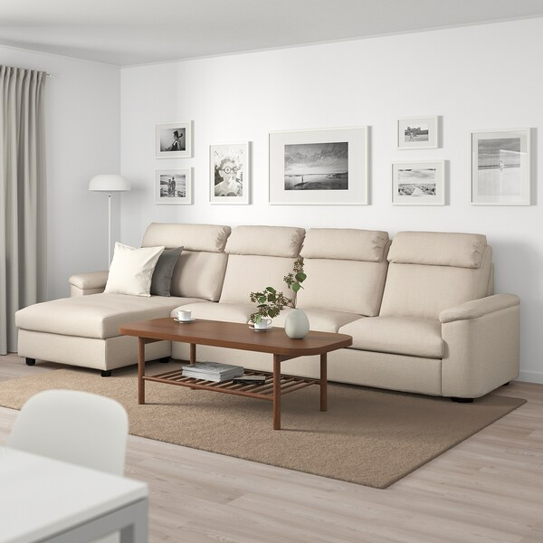 LIDHULT 4-seat sofa, with chaise longue/Gassebol light beige