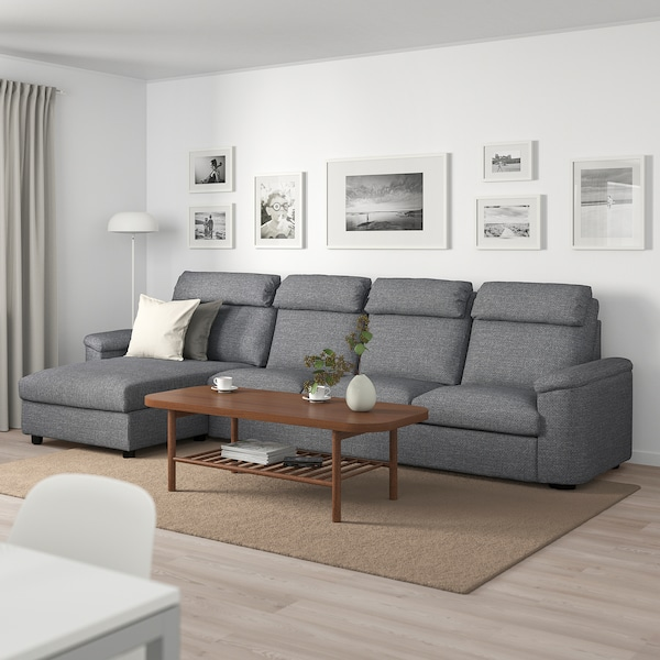 LIDHULT 4-seat sofa, with chaise longue/Lejde grey/black