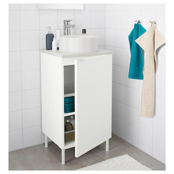 LILLÅNGEN/VISKAN / GUTVIKEN Washbasin cabinet with 1 door, white/grey Ensen tap, 42x40x87 cm