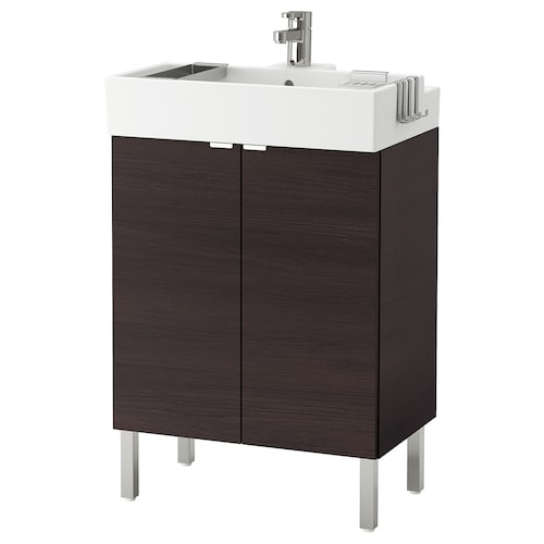 LILLÅNGEN washbasin cabinet with 2 doors black-brown/Ensen tap 61 cm 60 cm 41 cm 92 cm