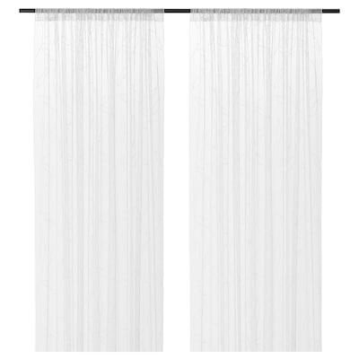 LILLEGERD Sheer curtains, 1 pair, white leaves, 145x300 cm