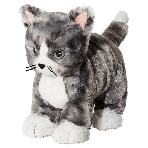 LILLEPLUTT soft toy cat grey/white
