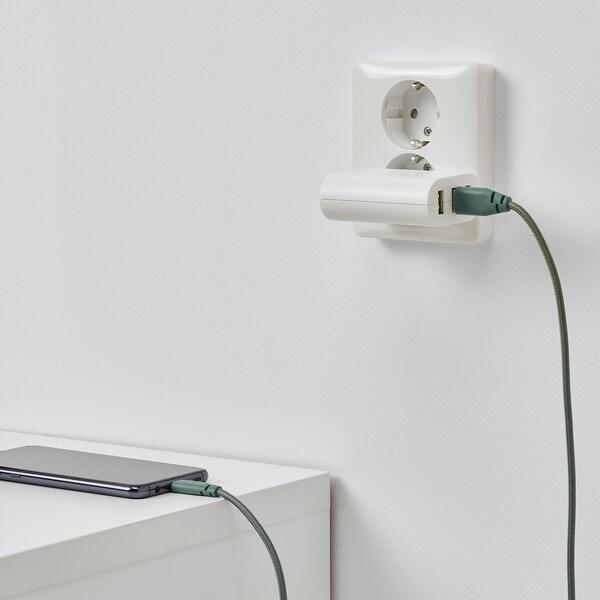 LILLHULT سلك USB نوع A إلى سلك إضاءة, نسيج/رمادي- تركواز, 1.50 م