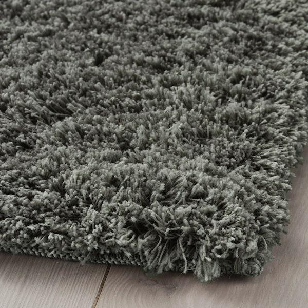 LINDKNUD Rug, high pile, dark grey, 80x150 cm