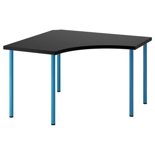 LINNMON / ADILS corner table black-brown/blue 120 cm 120 cm 74 cm 50 kg