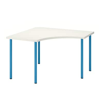 LINNMON / ADILS Corner table, white/blue, 120x120 cm