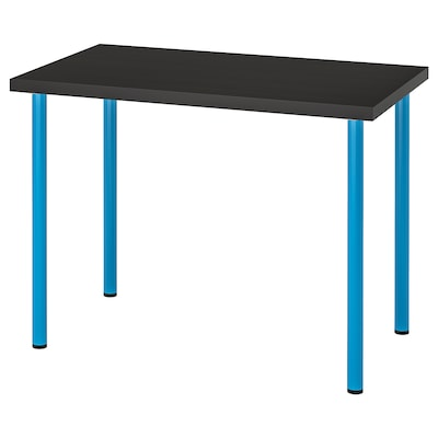 LINNMON / ADILS Table, black-brown/blue, 100x60 cm