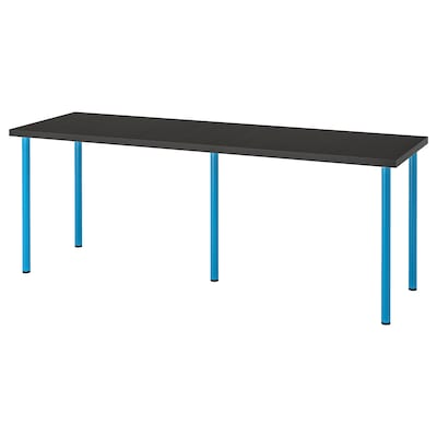 LINNMON / ADILS Table, black-brown/blue, 200x60 cm