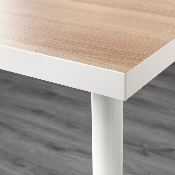 LINNMON / ADILS Table, white white stained oak effect/white, 150x75 cm