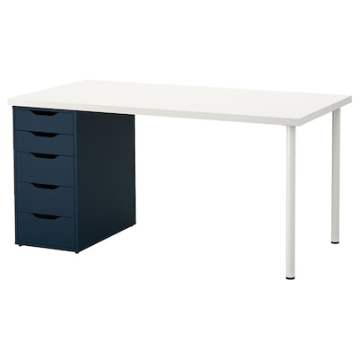 LINNMON / ALEX طاولة, أبيض/أزرق, 150x75 سم
