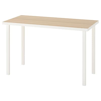 LINNMON / GODVIN Table, white white stained oak effect/white, 120x60 cm