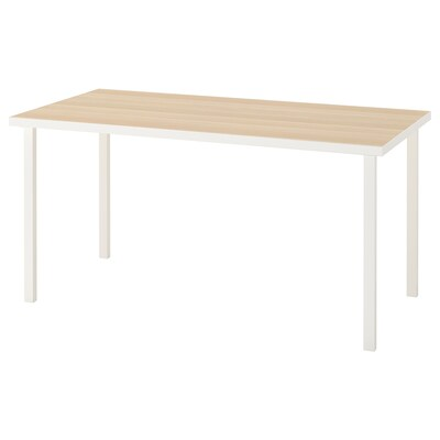 LINNMON / GODVIN Table, white white stained oak effect/white, 150x75 cm