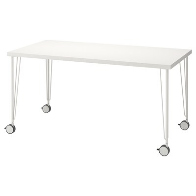 LINNMON / KRILLE Table, white, 150x75 cm