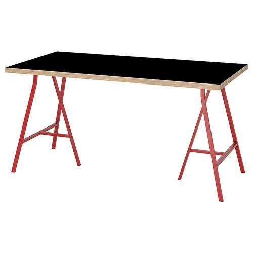 LINNMON / LERBERG table black plywood/red 150 cm 75 cm 74 cm 50 kg