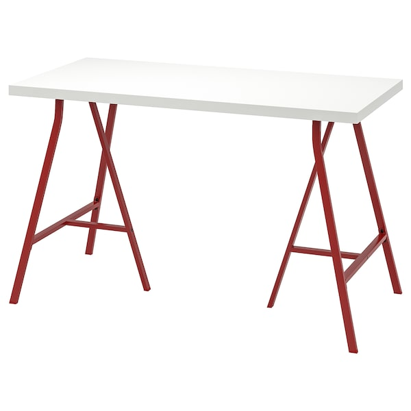 LINNMON / LERBERG Table, white/red, 120x60 cm