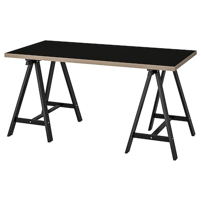 LINNMON / ODDVALD Table, black plywood/black, 150x75 cm